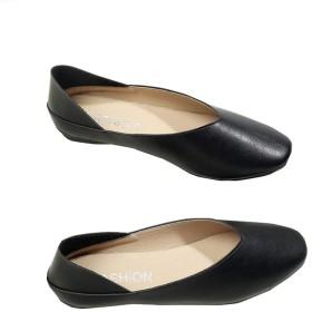 [トーダー] ストレッチパンプス レディース 美脚 婦人靴 かわいい 軽量 履きやすい ローヒール Vカット 通気性 柔軟性 フラットシューズ ぺたんこ バレエシューズ 柔らかい 歩きやすい カジュアル 春夏ブラック36