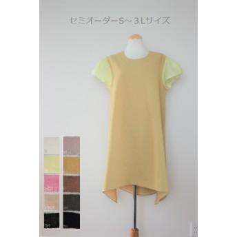 オーダー☆リネン切り替えワンピース 変わり裾・ギャザー袖
