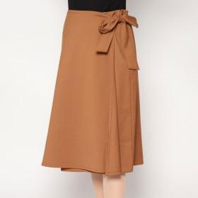 ディノス dinos 二重織ツイル ラップデザイン スカート (キャメル)