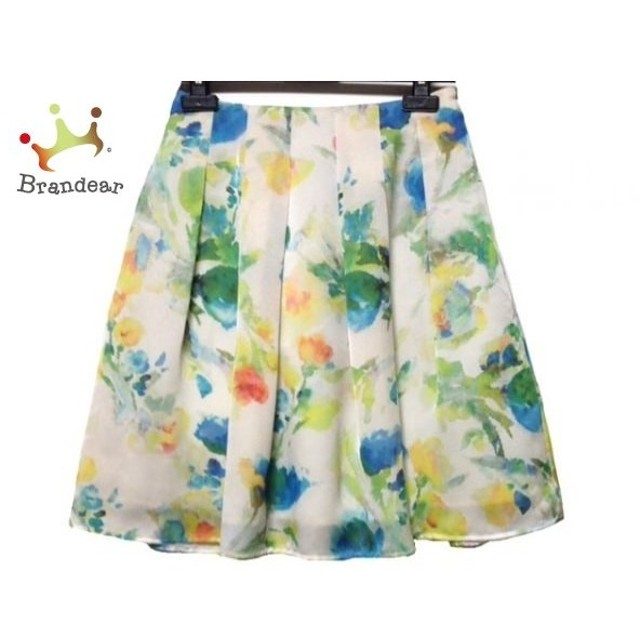 エムズグレイシー M'S GRACY スカート サイズ36 S レディース 美品 白×マルチ 花柄 新着 20190722