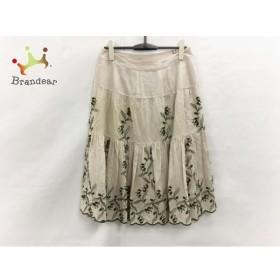 インゲボルグ スカート サイズ13 L レディース 美品 ベージュ×カーキ ドット柄/刺繍/花柄 新着 20190723