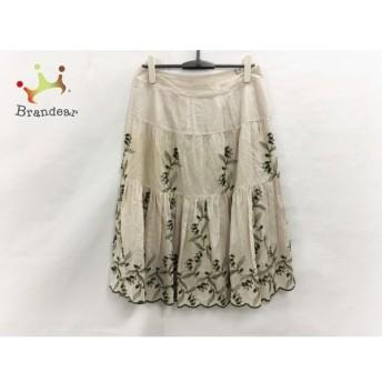 インゲボルグ スカート サイズ13 L レディース 美品 ベージュ×カーキ ドット柄/刺繍/花柄 値下げ 20190920