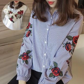 刺繍 ブラウス 春 レディース トップス ブルー 花柄 刺繍 安い 激安 シャツ ブラウス ストライプ 大きいサイズ ゆったり ホワイト