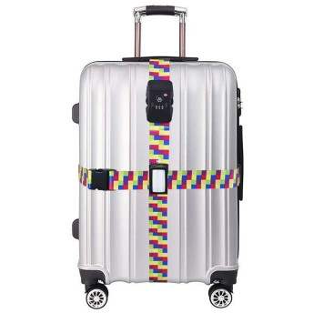 GIEADUN スーツケースベルト TSAロック 3桁ダイヤル式 トランクベルト 十字型 ワンタッチ サイズ調整可 ネームタグ付 旅行 出張 ゲーム格子