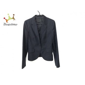 アンタイトル UNTITLED スカートスーツ サイズ3 L レディース ダークネイビー×黒 ストライプ  値下げ 20190915