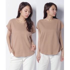 ジーラ 2WAYワッフル素材Tシャツ レディース ベージュ L 【GeeRa】