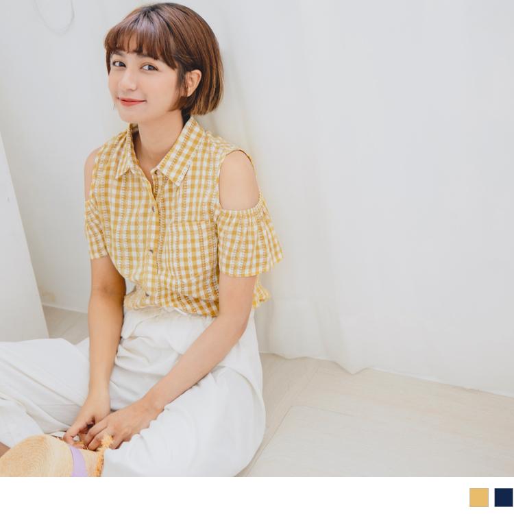 挖肩荷葉袖設計細緻織紋格紋襯衫