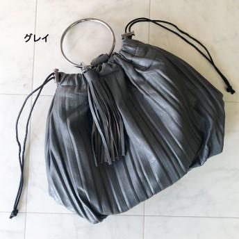 ショルダーバッグ - CELL フェイクレザープリーツタッセル付きリングハンドバッグ BAG 鞄 ショルダー付き 秋冬