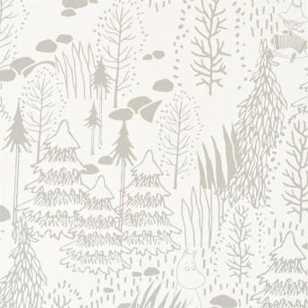 壁紙屋本舗 のりなし 壁紙 おしゃれ 北欧 ムーミン ホワイト 白 もみの木 スナフキン グレー リトルミイ 森 フィンランド SFE-6306 FE-6306 1m単位 切売