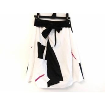 セオリー theory スカート サイズ2 S レディース アイボリー×黒×ピンク リボン【中古】20190708