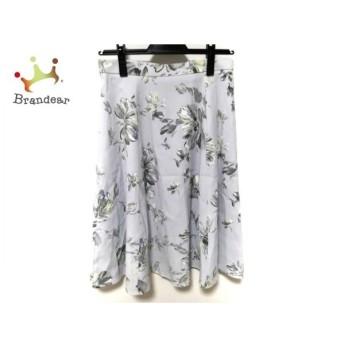 ジャスグリッティー スカート サイズ2 M レディース 美品 ライトブルー×グレー×マルチ 花柄 新着 20190722