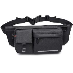 MINIBA ボディバッグ ワンショルダー 防水ナイロン メンズ 男性 横型 斜め掛け メッセンジャーバッグ 自転車鞄かばん (ブラック)