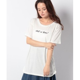 (GeeRa/ジーラ)プリントチュニックTシャツ/レディース ロゴホワイト