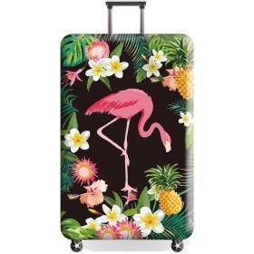 MOTOYOU スーツケースカバー 防塵カバー 人気 おしゃれ 動物柄 フラミンゴ 花柄 かわいい 伸縮素材 盗難防止 出張 旅行 S 18-20インチ パイナップル ブラック