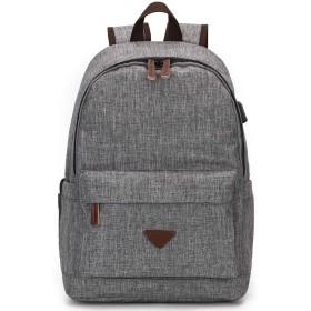 MINIBA リュックサックパック ポリエステル ズック USBポート付き メンズ レーディス 男女兼用 通学通勤 修学旅行 出張 A4書類鞄かばん (グレー)