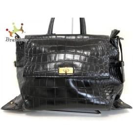 ポティオール PotioR ハンドバッグ 黒 型押し加工 レザー   スペシャル特価 20191016