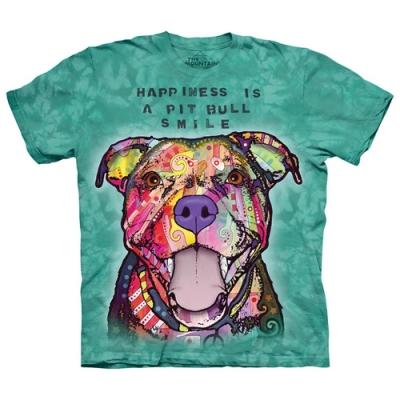 摩達客-美國The Mountain彩繪微笑比特犬環保中性短袖T恤