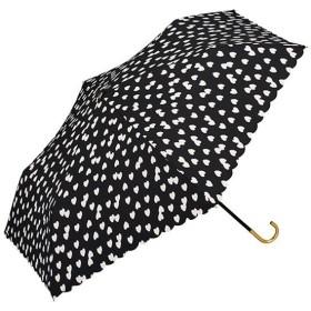 ワールドパーティー(Wpc.) 雨傘 折りたたみ傘  ブラック 黒  50cm  レディース 傘袋付き フラッフィーハート ミニ