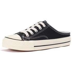 [Kayiyasu] スニーカー レディース 厚底 ローカット スリッポンシューズ ズック靴 かかとなし 女性用(25 ブラック)