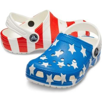 【クロックス公式】 クラシック アメリカン フラッグ クロッグ キッズ Kids' Classic American Flag Clog ユニセックス、キッズ、子供用、男の子、女の子、男女兼用 ホワイト/白 15.5cm,16.5cm,17.5cm,18cm,18.5cm,19cm,19.5cm,20cm,21cm clog クロッグ サンダル