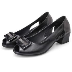 オープントゥ パンプス ローヒール 歩きやすい チャンキーヒール 安定感 痛くない 靴 大人 上品 太ヒール サンダル 柔らかい レザー 美脚 長時間 疲れない ママ ブラック 妊婦 シューズ 走れる 靴 25.0cm 大きいサイズ 25 25.5cm