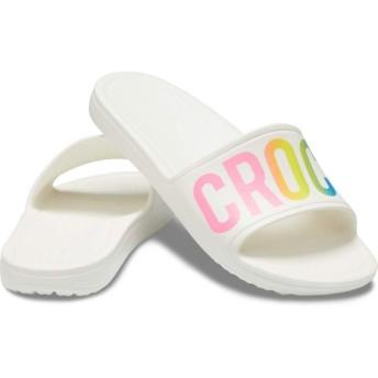 【クロックス公式】 クロックス スローン ロゴ マニア スライド ウィメン Women's Crocs Sloane Logo Mania Slide ウィメンズ、レディース、女性用 ホワイト/白 21cm,22cm,23cm,24cm,25cm slide スライドサンダル スポーツサンダル シャワーサンダル サンダル