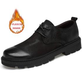 靴 新しい 男性 ビジネス オックスフォード カジュアル ロートップ クラシック ファッション 柔らかい 綿 暖かい 正式 シューズ 通気 (Color : Warm Black, サイズ : 24 CM)