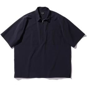 (ビームス)BEAMS/半袖シャツ SOLOTEX(R) シアサッカー ハーフジップ シャツ メンズ NAVY S