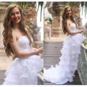 ウェディングドレス ホワイトハイローティアレースビーズオーガンザビーチウェディングドレスブライダルドレス