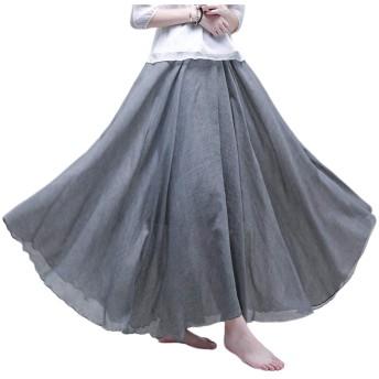 スカート マキシスカート フレアスカート レディース ロングスカート シンプル 無地 上品 オシャレ 落ち感 薄手 春夏