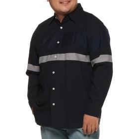 (ビーアンドティークラブ) B&T CLUB 大きいサイズ メンズ ジャガード切り替え レギュラーカラー オックスフォードシャツ ネイビー / X2