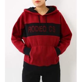 (ロデオクラウンズ ワイドボウル) RODEO CROWNS WIDE BOWL ニードルパンチ ロゴ パーカー M ボルドー