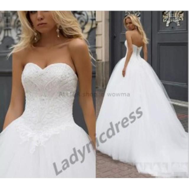 ウェディングドレス/ステージ衣装 2017白/アイボリーAラインコルセットウェディングドレスビーズチュールスウィートハートの花嫁衣装 201
