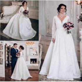 ウェディングドレス/ステージ衣装 ヴィンテージレースサテンAラインウェディングドレスホワイト/アイボリーロングスリーブブライダルドレ