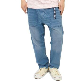ベイカーパンツ メンズ 大きいサイズ ベルト付き ストレッチ ユーズド加工 ゆったり クライミング デニムパンツ 4L ブリーチ(1)