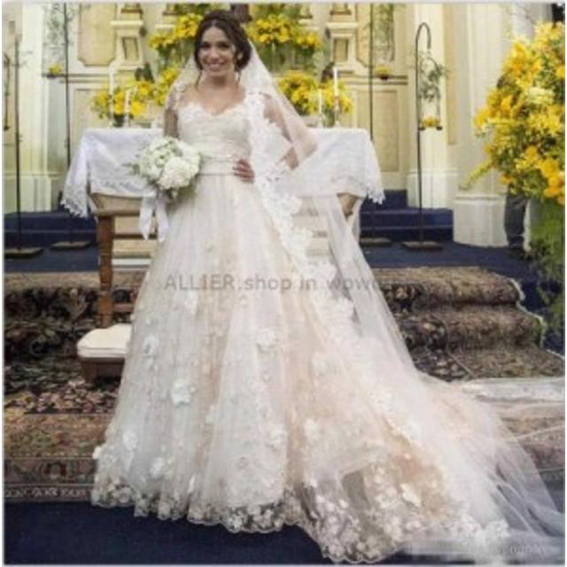 ウェディングドレス/ステージ衣装 魅力的な3D花のシャンパンウェディングドレスチュールAラインキャップスリーブブライダルドレス