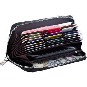 長財布 メンズ 本革 財布 ラウンドファスナー レザー ウォレット 大容量 大きく開く 抜群の機能性と収納力 仕事用 ハンドメイド