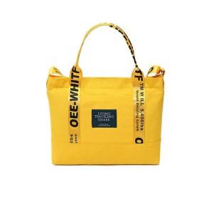 PURETINNトートバッグ 大容量、シンプル レディースカバン メンズ 帆布 旅行かばん 、 通勤と買い物の軽くて便利 長さ調整可能 肩掛けバッグジ (イエロー)
