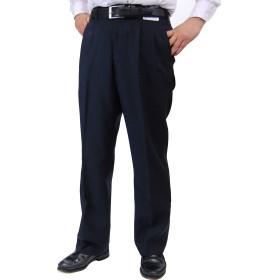 スラックス メンズ 春 夏用 洗ええる ツータック パンツクールビズにも ウエスト82cm~110cm (88cm, ネイビー)