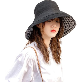 UVカット 帽子 レディース Sholov【両面着用 UVカット率99% 紫外線対策 折りたたみ可 】小顔効果抜群 UV帽子 ワイヤー入る 取り外すあご紐付き 帽子 ハット 可愛いハットつば広 吸汗通気 女優帽 通勤 自転車 旅行用 (格子-ブラック)