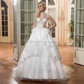 ウェディングドレス/ステージ衣装 ゴージャスなレースアップリケは、ビーズのウェディングドレスホワイト/アイボリーAラインブライダルド