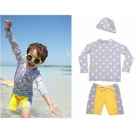 キッズ ジュニア 男の子 水着 スイムパンツ キャップ ラッシュガード セット 長袖 星柄 総柄 スイムウェア かわいい キュー