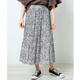【レイカズン/RAY CASSIN】 単色花柄消しプリーツスカート