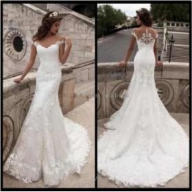 ウェディングドレス/ステージ衣装 NEWオフショルダーホワイト/アイボリーウェディングドレスマーメイドレースアップリケブライダルドレス