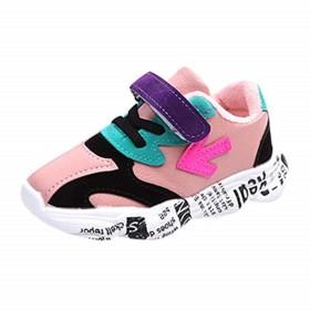 [BAOMABA] キッズシューズ 子供靴 運動靴 スニーカー カジュアルシューズ 出かけ 滑り止め 通学 ランニング ソフトソール マジックテープ パッチワーク 矢印文字 ファッション ガールズ ボーイズ (24, ピック)