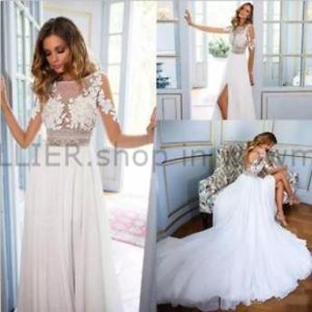 ウェディングドレス/ステージ衣装 セクシーなレースシフォンスプリットサイドウェディングドレスホワイト/アイボリーロングスリーブブラ