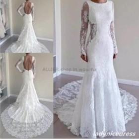 ウェディングドレス/ステージ衣装 ヴィンテージロングスリーブマーメイドウェディングドレスレースホワイト/アイボリーバックレスブライ