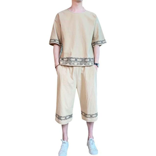 Tenflow 上下セット Tシャツ メンズ 半袖 カットソー クロップドパンツ ショートパンツ セットアップ 綿麻 和柄 復古 カジュアルウェア エスニック dsa115-tz151(2XL tz150カーキ)