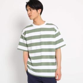 (ザ ショップ ティーケー) THE SHOP TK ボーダービッグシルエットTシャツ 61636627 03(L) カーキ(327)