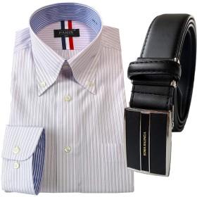 [パリス16ク] ワイシャツ ベルト セット メンズ 長袖 形態安定 ボタンダウン 大きいサイズ 130cm 革 3L 18